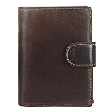Fashion Men Trifold Short Purse Retro Leather Wallet Button Bag Card Case Coin Bag Color:Coffee Color