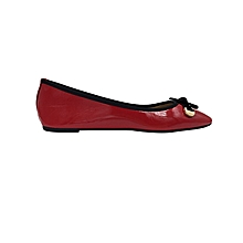 Red Women's Doll Shoes With Wet Look.
