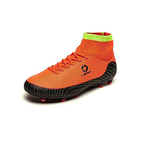 71ad8aaa9 Generic Ankle Soccer Cleats Mens Football Boots High Top Turf Soccer Shoes  Football Cleats Football Shoes Indoor Boys Youth Sneakers Spikes - Orange