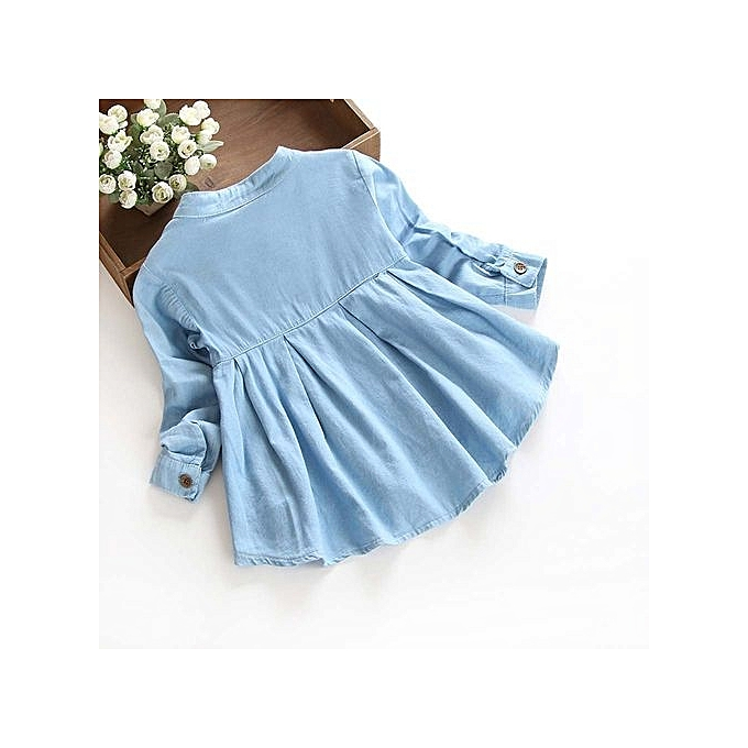 49422667e ... Toddler Kid Baby Girls Denim Ruched Long Sleeve T-Shirt Tops Blouse  Clothing ...
