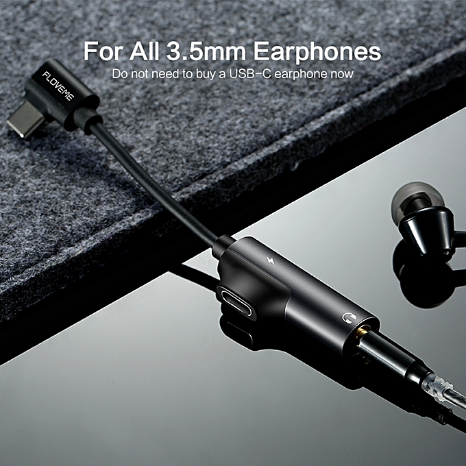 FLOVEME 2 In 1 Type C To Headphone Adapter For Audio Charging Converter