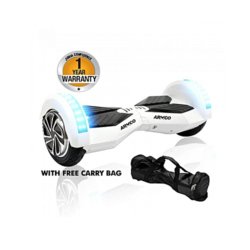 "AHB-8B1 - 8"" - Electric Self Balancing Scooter - Bluetooth speakers - LED Lights - Free Carry Bag - White"