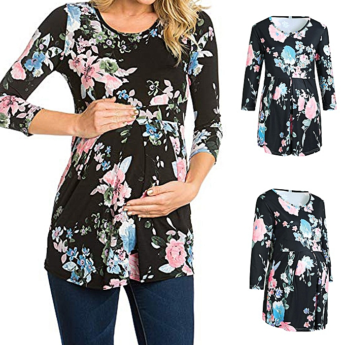 00d973fa59634 Boapsd Shop Women Maternity Pregnancy T-Shirt Ruched Floral Flower Tops  Maternity Clothes