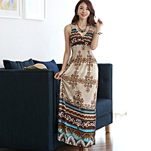 TB Bohemia Style Floral Print Sleeveless Women Sexy Dress Long Summer Beach Mix color