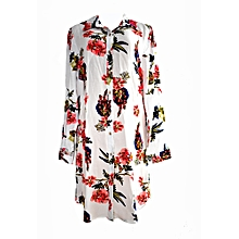 White Jumbo Floral Shirt Dress
