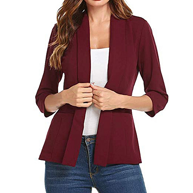 eb83917f270 shioakp Women Mini Suit Casual 3 4 Sleeve Open Front Work Office Blazer  Jacket Cardigan