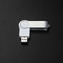 2 IN 1 Swivel USB 2.0 OTG Metal Flash Memory Stick Storage Thumb U Disk 2GB WT-White