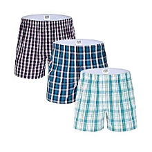Boxer Shorts - 3 Pieces-Pure Cotton - Checked (Random color)