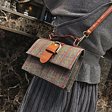 singedanWomen's Fashion Plaid Stripes Wool Belt Buckle Crossbody Shoulder Bags -Gray