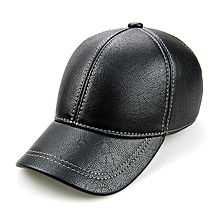Mens PU Leather Ear Flaps Baseball Cap Outdoor Warm Trucker Hats Adjustable