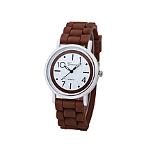 Geneva Women Faux Leather Analog Quartz Wrist Watch- Brown