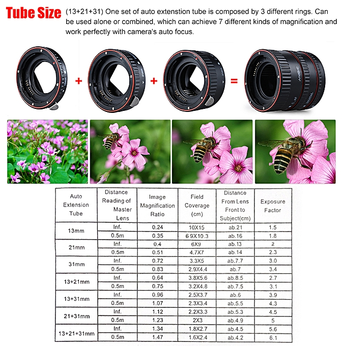Andoer Macro Extension Tube Set 3-Piece 13mm 21mm 31mm Auto Focus Extension  Tube Rings for Camera Body and Lens of 35mm SLR Compatible for all EF and