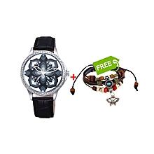 Tresor Ladies Wrist Watch Black - Free Bracelet