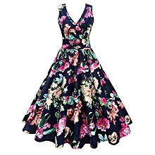Women Vintage Floral Print Fit&Flare Dress - Navy