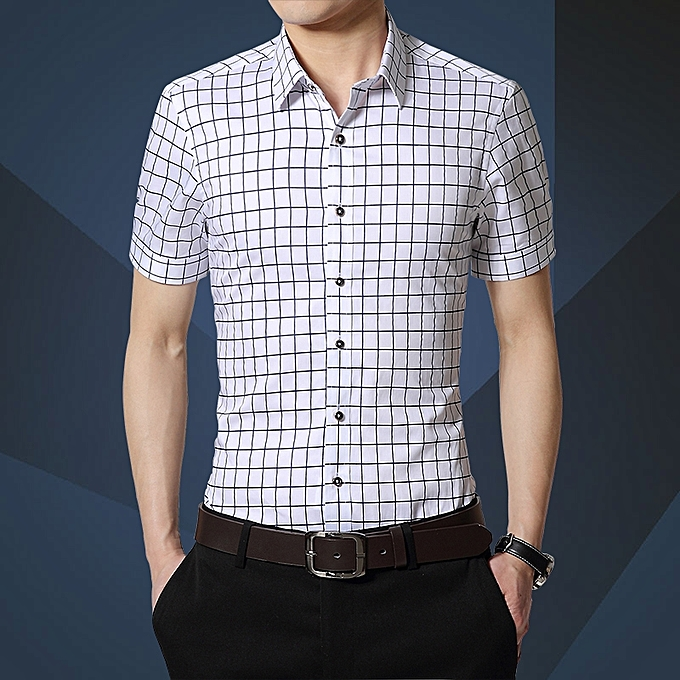 Check Formal Shirts Men Short Sleeve Slim Fit Business Casual Shirts (White) 6b1271ebe