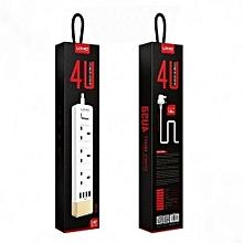 4U 3 Power Socket 4 USB Port 2.4A 5.24ft/1.6m UK Plug Charging Cable