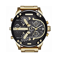 Men's Fashion Luxury Watch Stainless Steel Sport Analog Quartz Mens Wristwatches-Gold