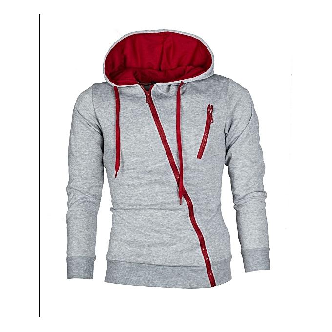 1982fdef0cf64 Men s diagonal zipper men s casual slim hooded cardigan sweater-light ...