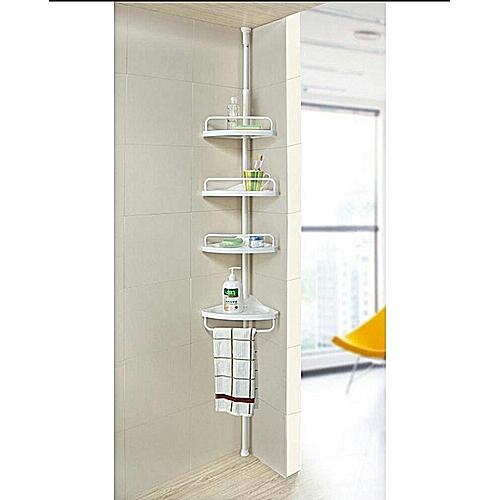 1b1a93555c4fb 4 Layers Shower Corner Pole Caddy Shelf Holder Bathroom Storage Rack  Organizer