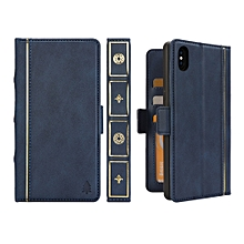 Bible Style Business Horizontal Flip Leather Case for iPhone XS Max, with Card Slots & Photo Frame & Holder & Wallet (Dark Blue)