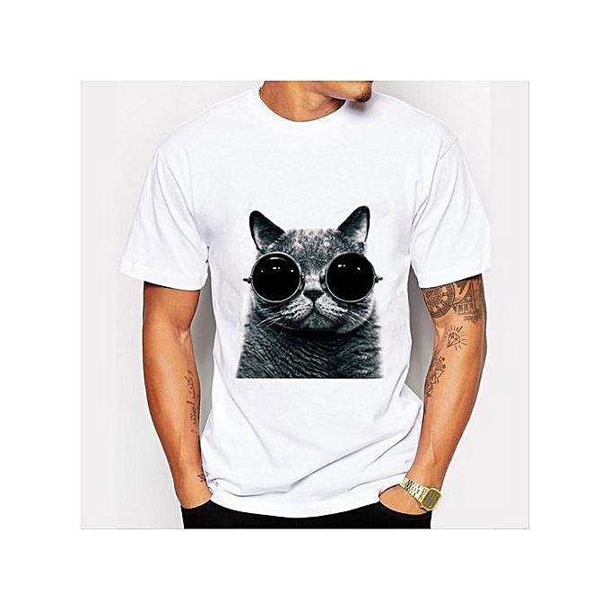 b81fc4798686 Generic Cool Cat Men's T-Shirts Funny T-shirt Print T-Shirts FASHION ...