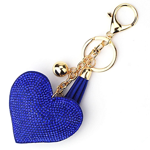 Generic OR Love Heart Keychain Women Rhinestone Beads Key Ring Handbag  Pendant Keyring-white 90e7c51ec
