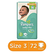 Baby Dry Diapers with Extra Absorb channels (6-10kg) - Size 3 (72 Count)
