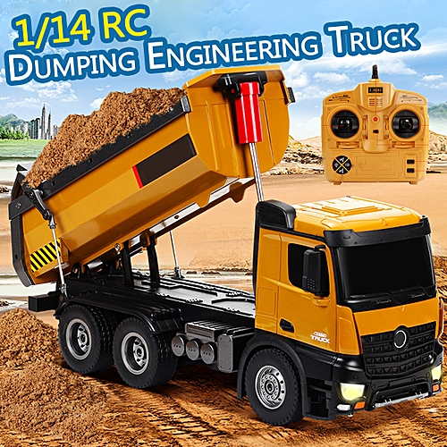 Huina 1:14 2 4G RC Truck 10-CH Remote Dump Truck Remote Control Toy Kids  Gift