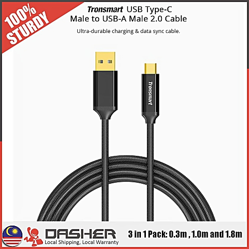 Tronsmart Premium Gold Plated CPP10 Braided Nylon USB-C to USB-A 2.0 Charging & Syncing Cable QTG-W