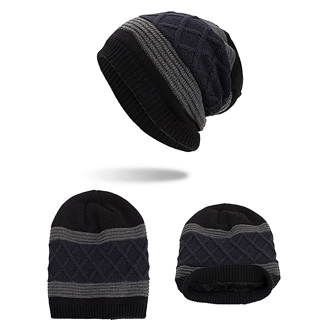 153d4f677f6 ... Lesov Knitted Beanie Hat Men Warm Plush Velvet Winter Hats For Men  Stripe Hip Hop Slouchy