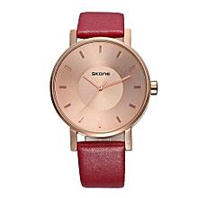 Quartz Watches 2 Size Lovers Fashion Wristwatches Men Women Business Casual Leather Simple Clock Male 9463