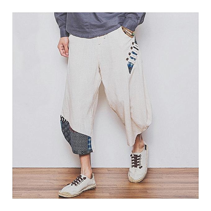 338de50d4072 Large Size Pure Color Linen Cotton Tenths Trousers Summer Men s Casual  Loose Harem Pants