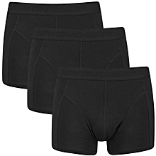 Black Cotton Casual Fitting Boxers A Pack Of Three