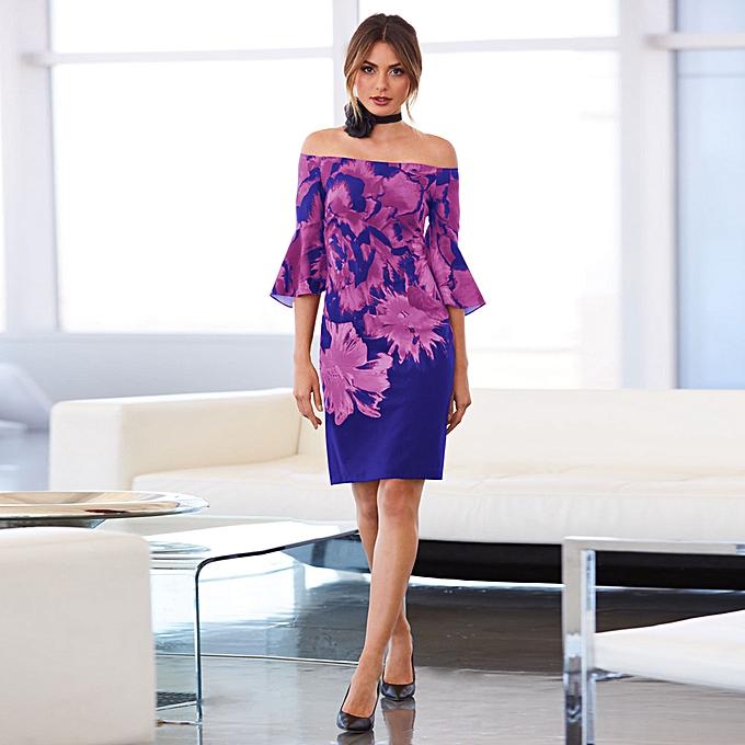 fff71db4e3c1 ... Hiaojbk Store Womens Long Sleeve Boho Off Shoulder Dress Lady Beach  Summer Sundrss Maxi Dress- ...