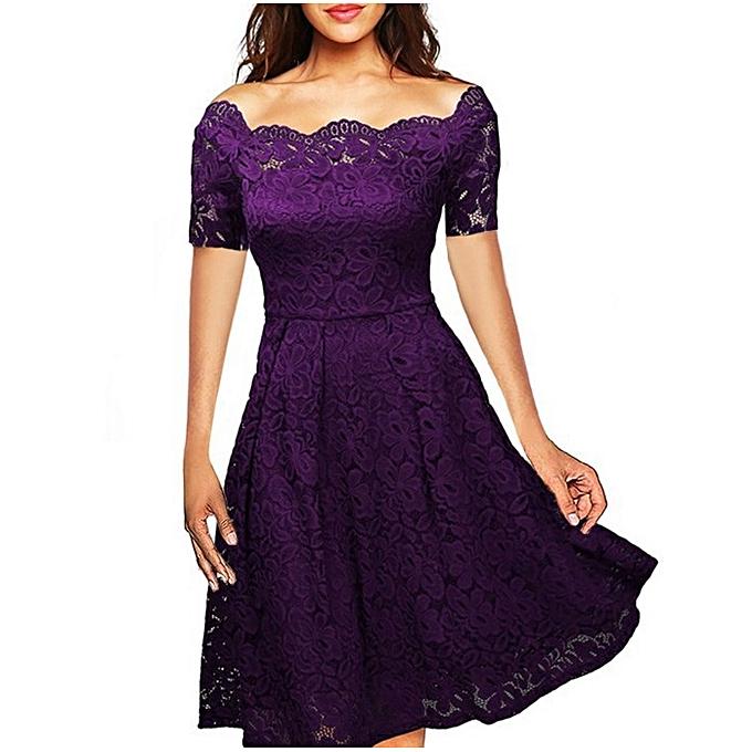 Women S Short Sleeved Y Lace Word Off Shoulder Dress Purple