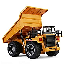 Remote Control Alloy Dump Truck, 2.4Ghz, 6 Channel, Scale 1:18, Construction Toy, 1540, HUINA - Deep Yellow Colour