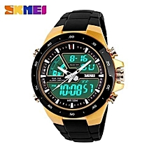 brand men sport watches dual display digital analog quartz led wristwatches rubber strap swim waterproof creative watch