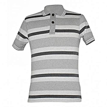 Grey Striped Mens Polo Shirts