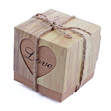 25pcs Candy Boxes Love Rustic Kraft Bonbonniere With Burlap Jute Shabby Chic Vintage Twine Wedding Favor Imitation Bark Gift Box 5cm X 5cm X 5cm Yellow