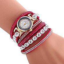 Women Ladies Metal Decorative Circle Quartz Watch Winding Bracelet Hot