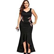 Plus Size V Neck Sleeveless Mermaid Dress (BLACK)