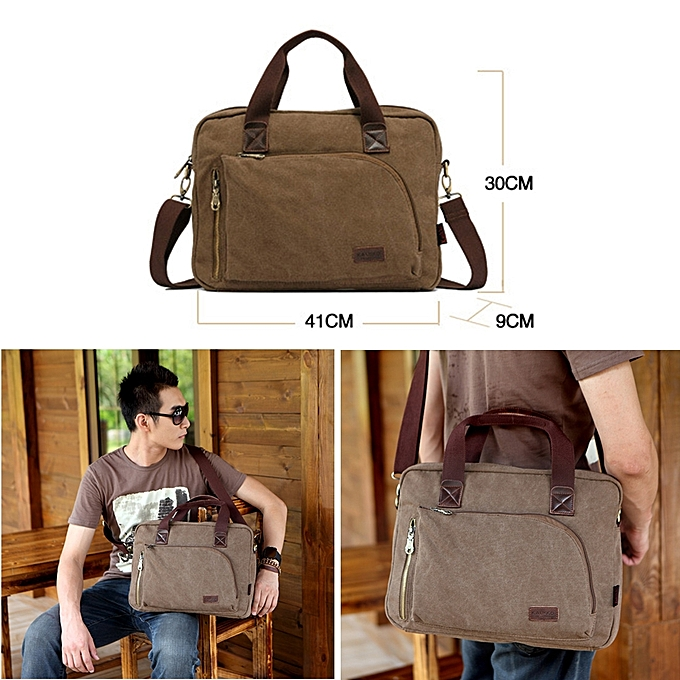 ... KAUKKO FJ24 Fashion WalkingZone 13-14 inch Canvas Briefcase Laptop  Tablet Notebook Bag Crossbody Bag ... 5dc6c243bea2b