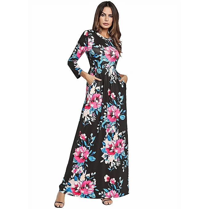 e24b955e52dc5 Women Dress O-Neck Three Quarter Sleeve Printed Long Maxi Dress Black