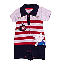 WONDERCHILD COLLECTION baby  rompers(grey with red stripes)