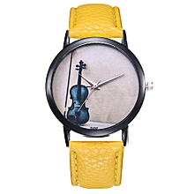 Watch Women's Fashion Casual PU Leather Strap Analog Quartz Round Watch-Yellow