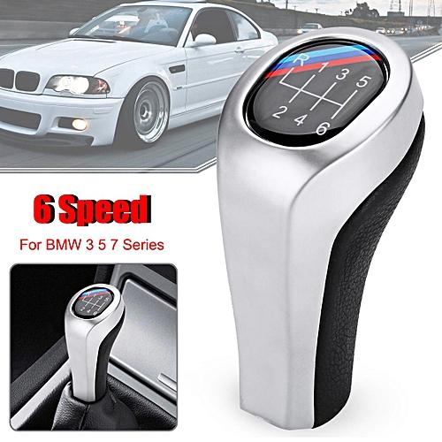 5 6 Speed Pu Leather Chrome Manual Gear Shift Knob M Color For Bmw E90 E91 E92 X1 X3