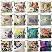 Vintage Flowers and Waist Square Floral Linen Cushion Cover Decorative Pillow Case Chair Seat