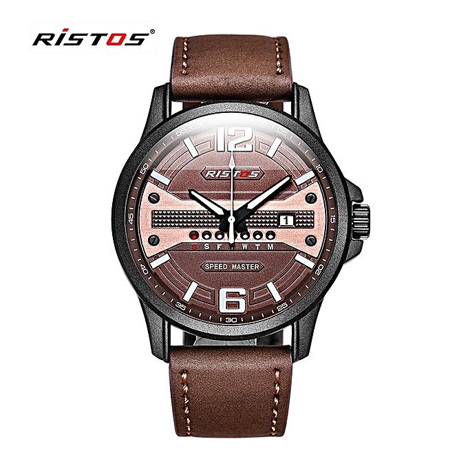 a9a77af27535 RISTOS Quartz Men Watch Sport Genuine Leather Watches Reloj Masculino  Hombre Male Wristwatch Fashion Analog Calendar