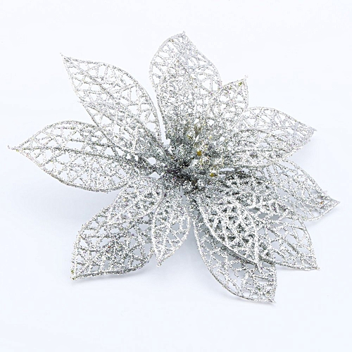 UNIVERSAL Hollow Christmas Flowers Xmas Tree Decorations Wedding Party  Decor Ornaments (Silver) 5302fdbed631