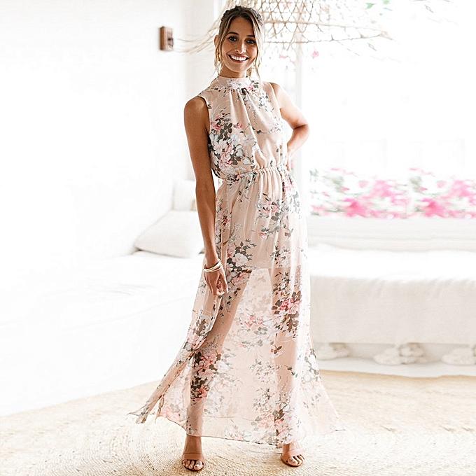61d3469cc2352 Women Floral Print Halter Long Dress Backless Split Casual Beach Maxi  Summer Boho Dress Pink ...